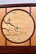 chickadee bed with marquetry  by Matthew Werner